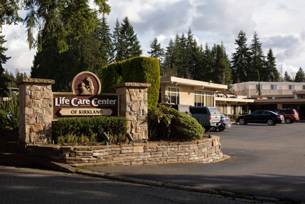 The entrance to Life Care Center of Kirkland. (David Ryder/Getty Images)