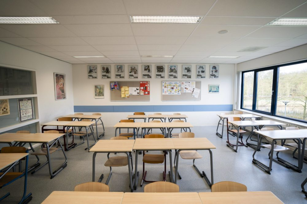 A high school classroom in the Netherlands sits empty on March 16 after schools were closed due to the coronavirus pandemic. (Jeroen Jumelet/ANP/AFP via Getty Images)