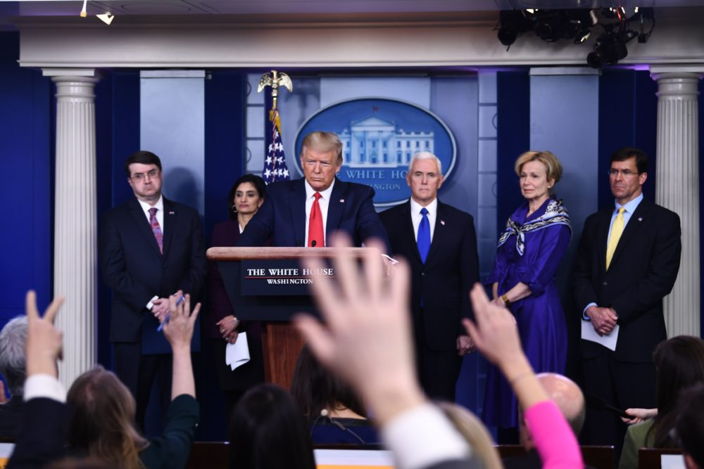 U.S. President Donald Trump takes a question during the daily briefing on the novel coronavirus, COVID-19, at the White House on March 18, 2020, in Washington, DC. Trump ordered the suspension of evictions and mortgage foreclosures for six weeks as part of the government effort to ease the economic pain from the coronavirus pandemic. (BRENDAN SMIALOWSKI/AFP via Getty Images)