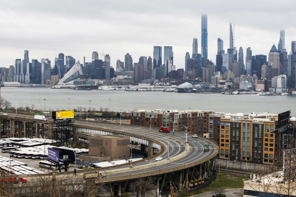 The skyline of New York City is seen as people commute between New Jersey and New York on March 25, 2020 in Weehawkeen, New Jersey. (Eduardo Munoz Alvarez/Getty Images)
