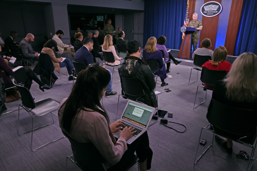 Because of the threat of transmission of the novel coronavirus (COVID-19), the Pentagon is exercising social distancing by keeping reporters' chairs four feet apart from each other during briefings. (Chip Somodevilla/Getty Images)
