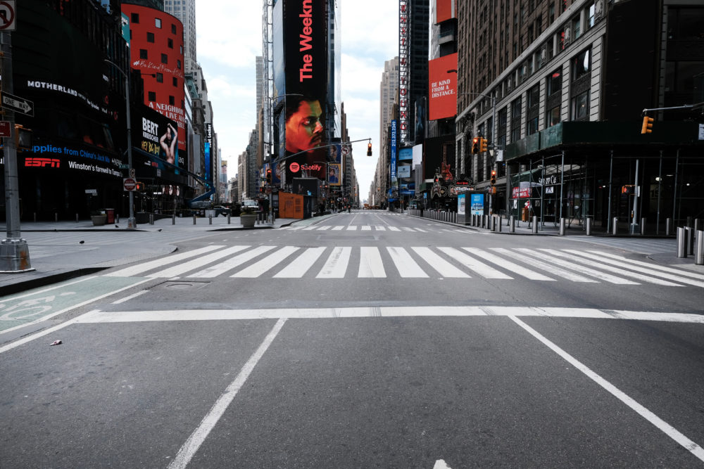 Times Square stands mostly empty as  as much of the city is void of cars and pedestrians over fears of spreading the coronavirus on March 22, 2020 in New York City. (Spencer Platt/Getty Images)