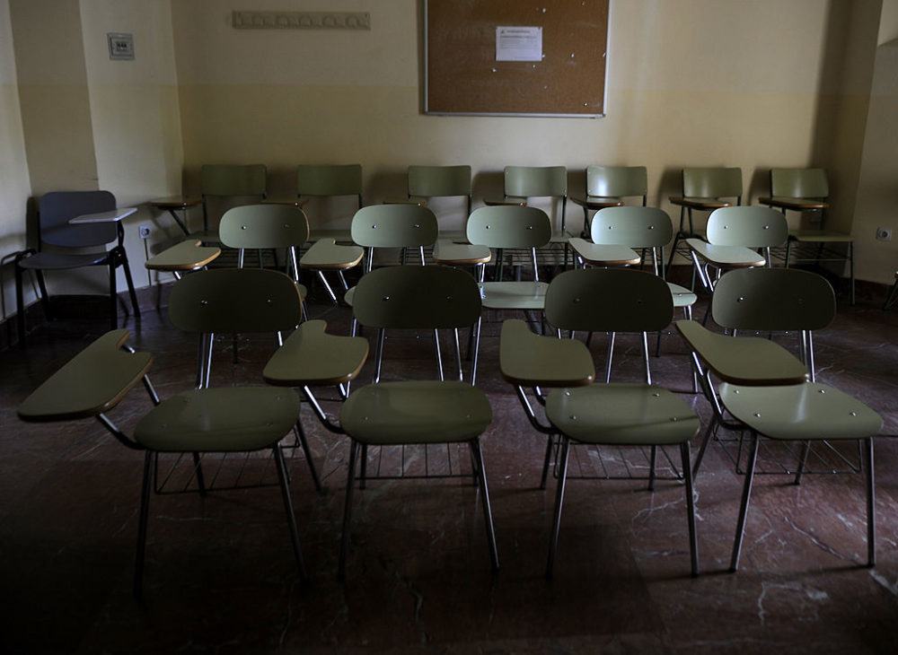 An empty classroom. (Cristina Quicler/AFP/Getty Images)