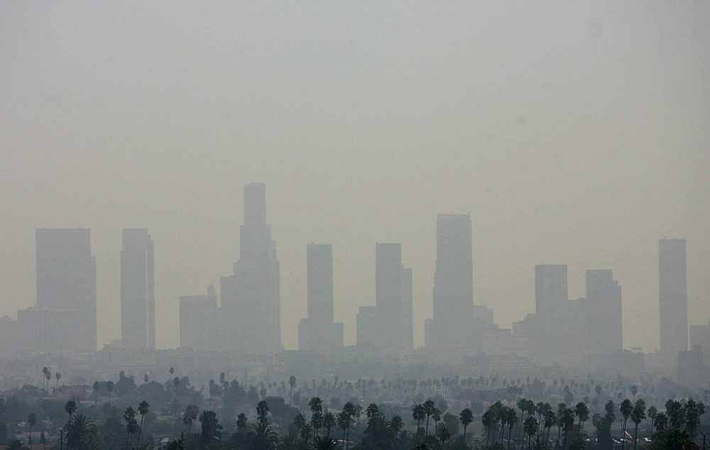 View of the air pollution over downtown Los Angeles in 2006, the year when several U.S. states and environmental organizations engaged in the fight against global warming by taking their case to the U.S. Supreme Court. (Gabriel Bouys/AFP/Getty Images)