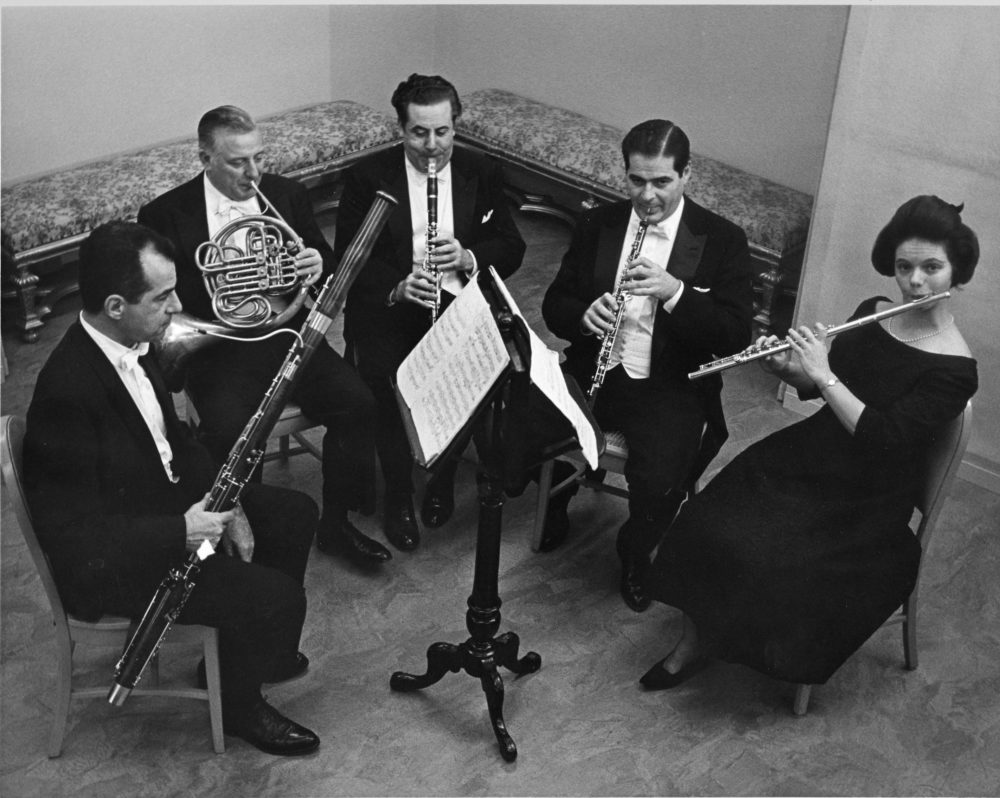 Doriot Anthony Dwyer, left, with members of the Boston Symphony Chamber Players Woodwind Quartet rehearsing on May 13, 1968. (Courtesy BSO)