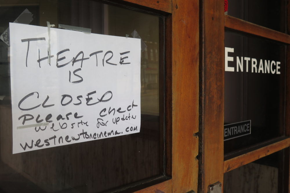West Newton Cinema closed its doors as a precaution against the coronavirus outbreak on March 15. (Andrea Shea/WBUR)