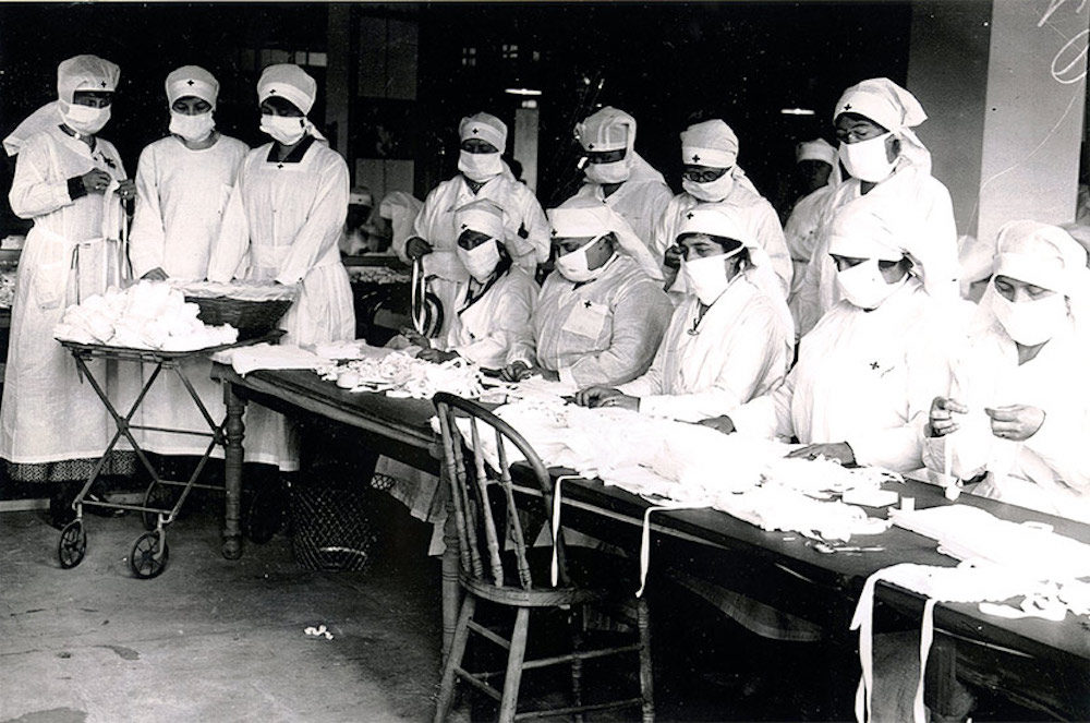 Red Cross volunteers assemble gauze masks at Camp Devens (Courtesy the Fort Devens Museum)