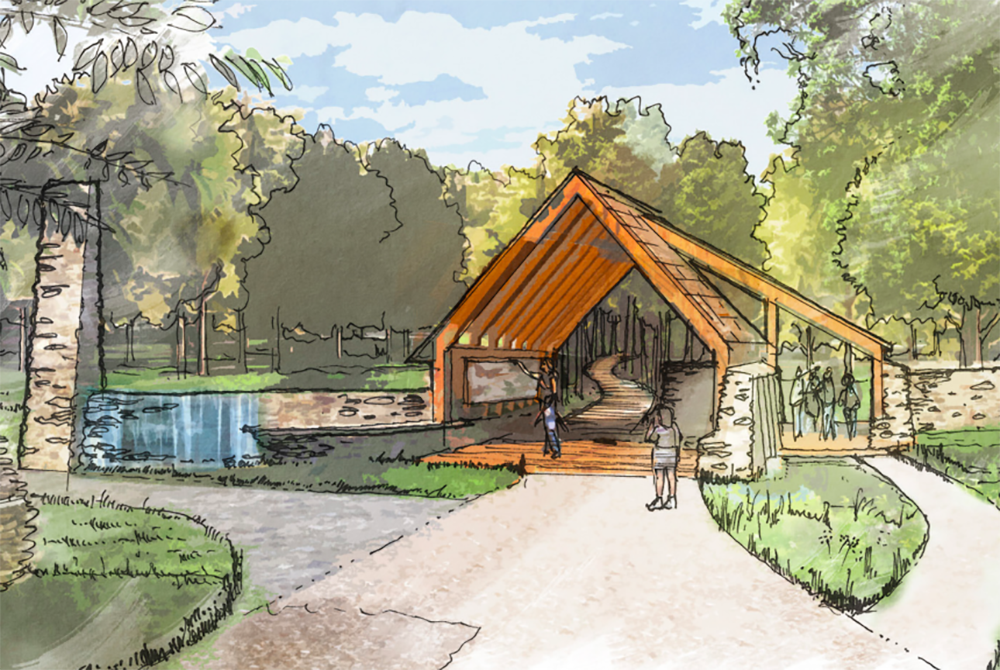 Rendering of the Trailhead Pavilion, which will be the entry and exit for the trail. (Courtesy of the ANT at Letchworth State Park)
