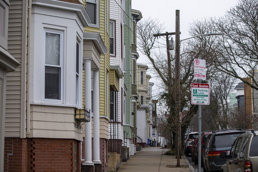Triple- and double-decker apartment houses in East Boston. (Jesse Costa/WBUR)