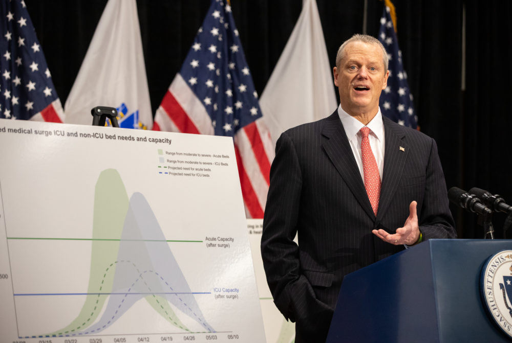 Gov. Charlie Baker on Thursday gives an update on the expected surge of coronavirus patients. (Sam Doran/State House News Service)