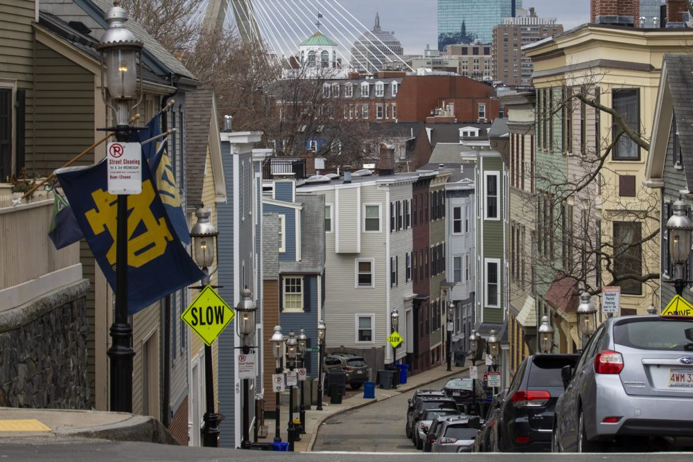 Housing along Pleasant Street in Charlestown. (Jesse Costa/WBUR)