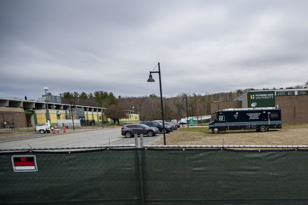 A temporary morgue is being staged at Fitchburg State University's Landry Arena should the need arise if the COVID-19 death toll accelerates or if staff become less available. (Jesse Costa/WBUR)