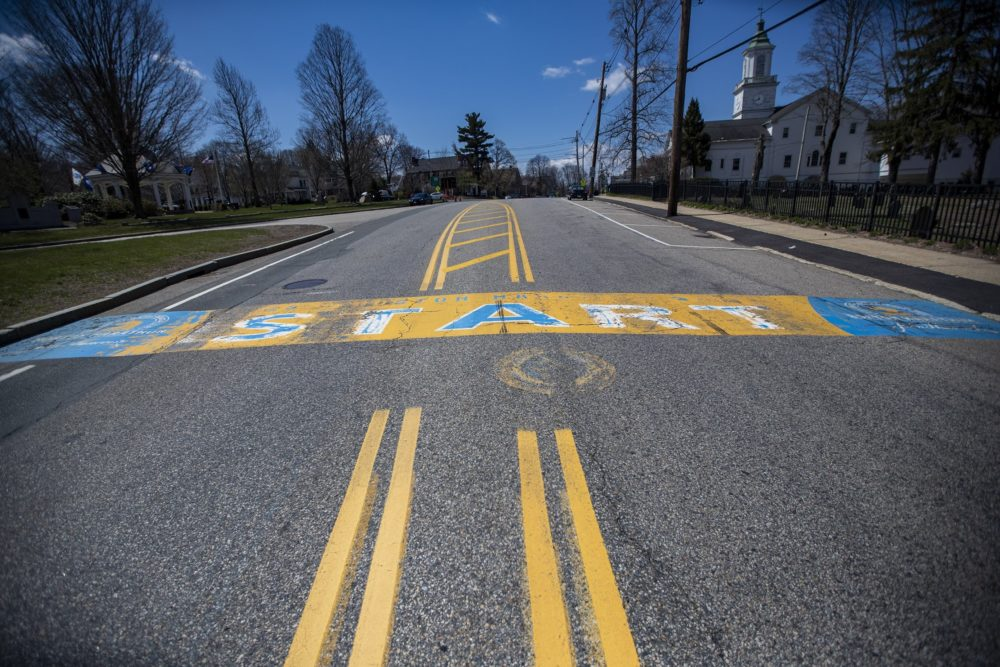 It's the Friday before the original -- now postponed -- date of the Boston Marathon. Under ordinary circumstances, there would be plenty of vendors and a huge police presence in Hopkinton, where the starting line is located. Today, there's practically no activity. (Jesse Costa/WBUR)