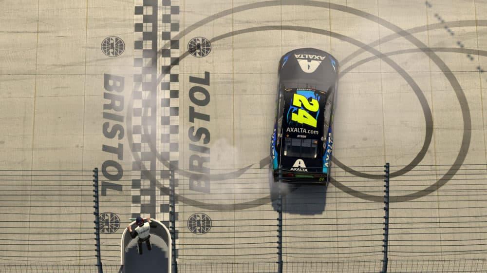 A virtual race car on a virtual Bristol Motor Speedway. (Chris Graythen/Getty Images)