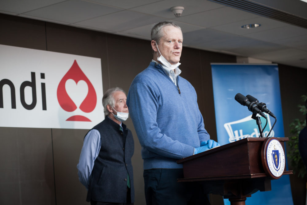 Gov. Charlie Baker gives a press conference at the Cartamundi plant in East Longmeadow. The plant, in partnership with Hasbro, is making clear plastic face shields as personal protective devices for health care workers, first responders and law enforcement. (Douglas Hook/MassLive)