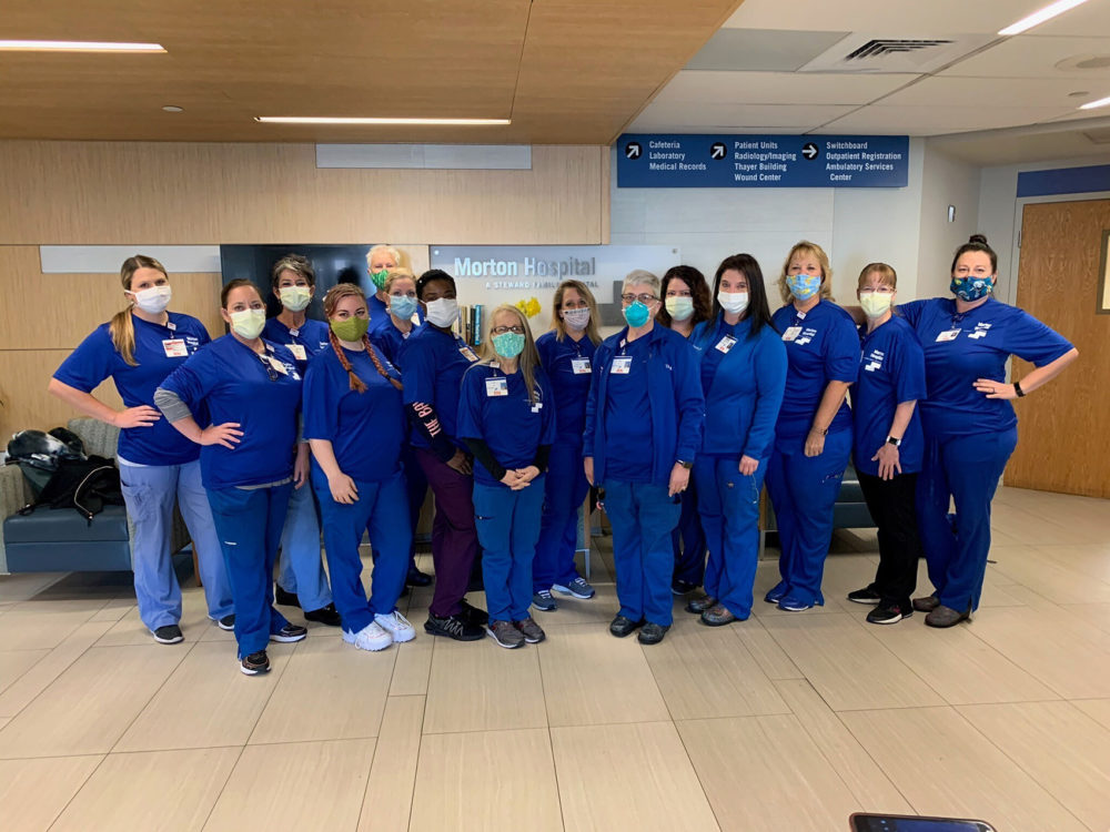 This group of nurses traveled from Florida to Morton Hospital in Taunton to help treat patients with COVID-19. (Courtesy Steward Health Care)
