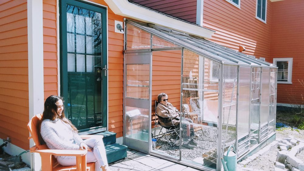 A greenhouse presents a novel solution for the author's family and her 88-year-old mother when it comes to safe visits. (Courtesy Holly Robinson)