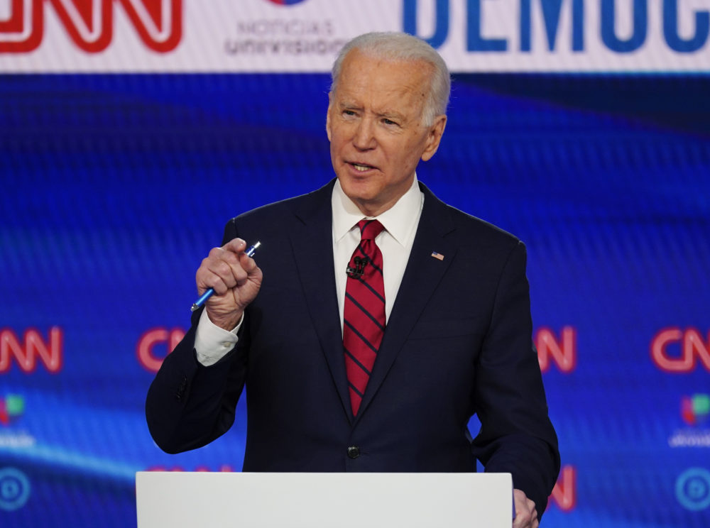In this March 15, 2020, photo, former Vice President Joe Biden participates in a Democratic presidential primary debate at CNN Studios in Washington. A former aide to Biden, Tara Reade, is accusing the presumptive Democratic presidential nominee of sexually assaulting her during the early 1990s when he was a senator. Biden's campaign denies the charges. (Evan Vucci/AP)