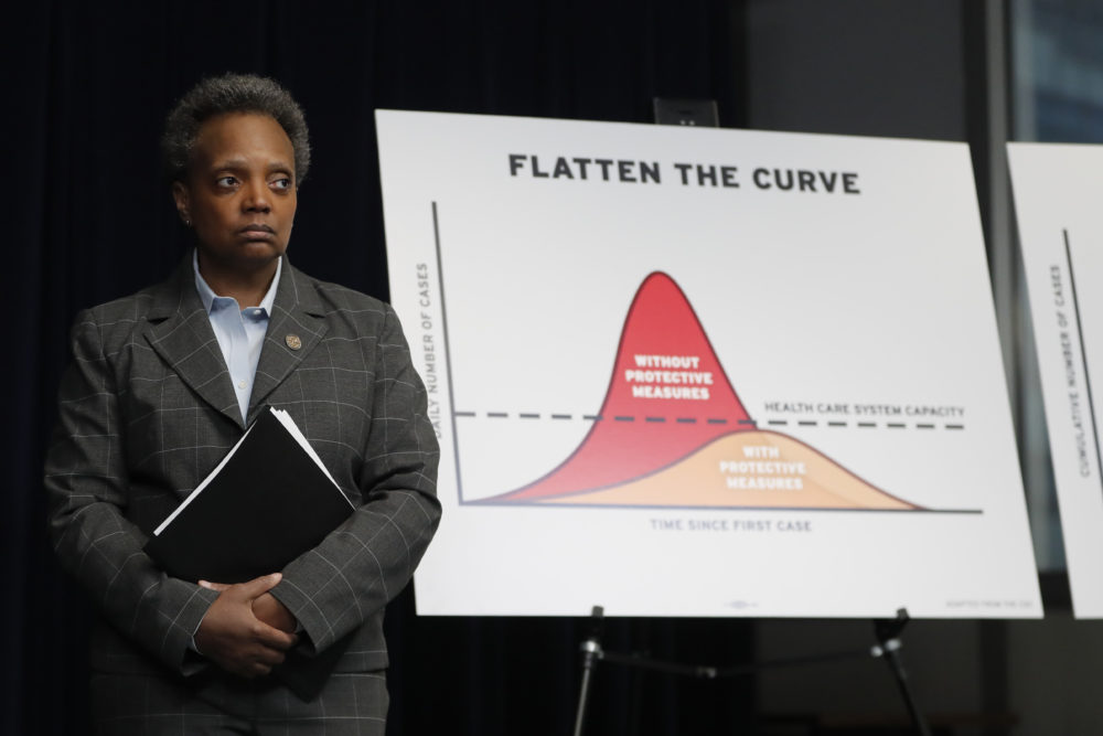 Chicago Mayor Lori Lightfoot attends a news conference where Illinois Gov. J.B. Pritzker announced a shelter in place order to combat the spread of the Covid-19 virus, Friday, March 20, 2020, in Chicago. (Charles Rex Arbogast/AP)