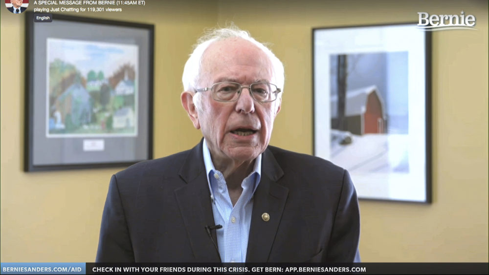 This image from video provided by the Bernie Sanders presidential campaign shows Sen. Bernie Sanders, I-Vt., as he announces he is ending his presidential campaign (Bernie Sanders for President via AP)