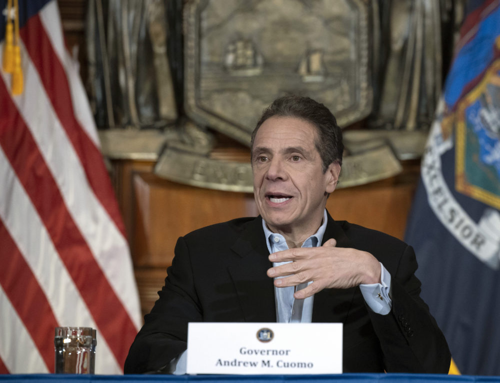 Gov. Cuomo provides a coronavirus update during a press conference in the Red Room at the State Capitol in Albany. (Mike Groll/Office of Governor Andrew M. Cuomo via AP)