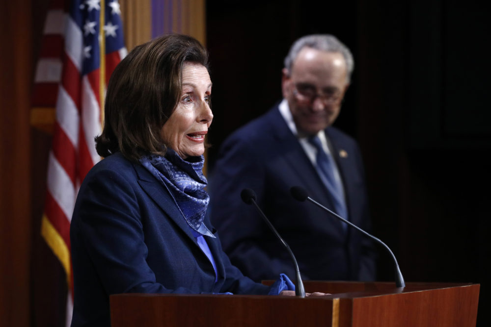 House Speaker Nancy Pelosi of Calif., speaks with reporters alongside Senate Minority Leader Sen. Chuck Schumer of N.Y. after the Senate approved a nearly $500 billion coronavirus aid bill, Tuesday, April 21, 2020, on Capitol Hill in Washington. (AP Photo/Patrick Semansky)
