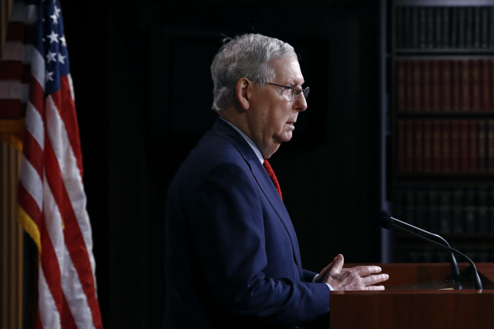 Senate Majority Leader Mitch McConnell of Ky., speaks with reporters after the Senate approved a nearly $500 billion coronavirus aid bill, Tuesday, April 21, 2020, on Capitol Hill in Washington. (Patrick Semansky/AP Photo)