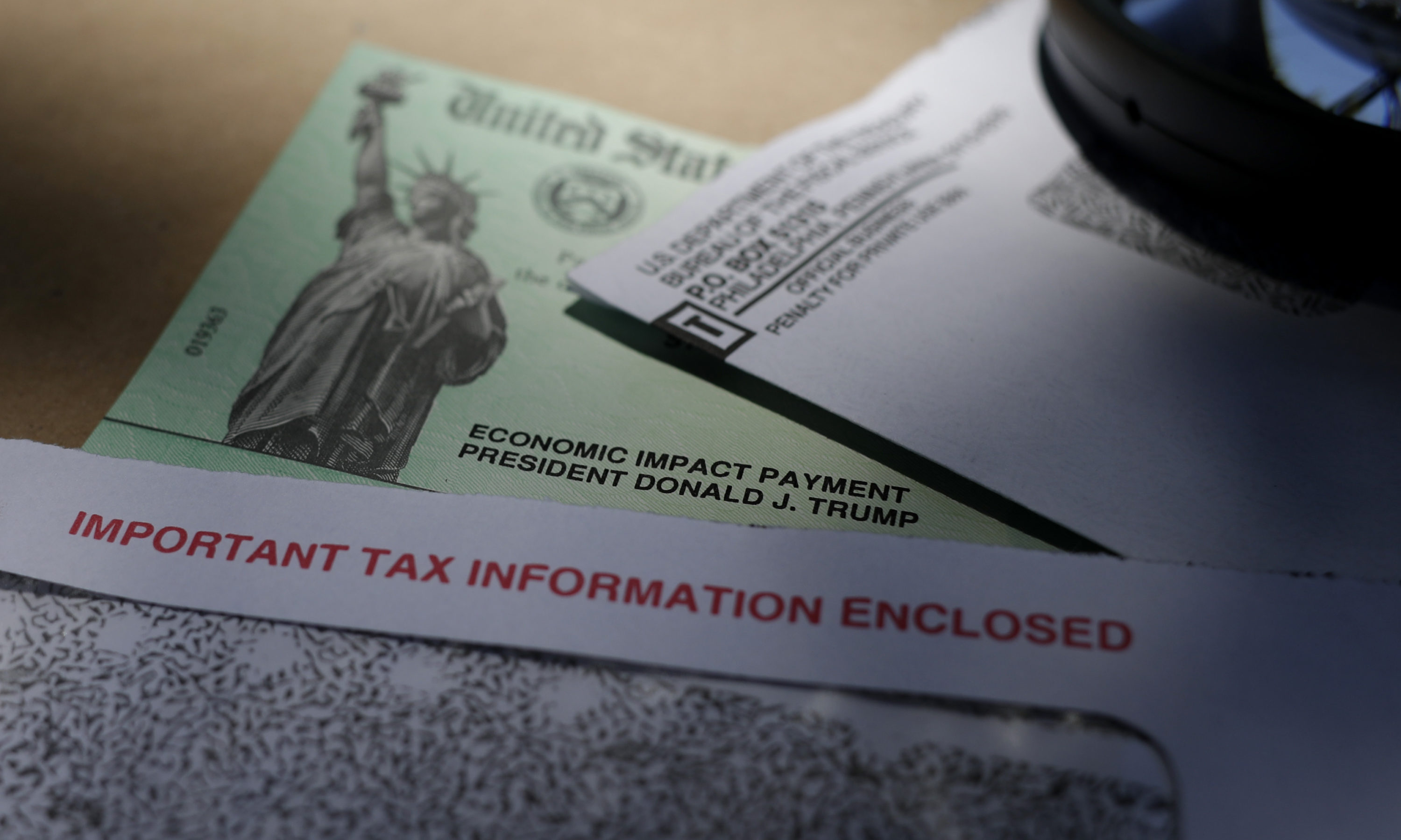 A stimulus check issued by the IRS to help combat the adverse economic effects of the COVID-19 outbreak. (Eric Gay/AP)