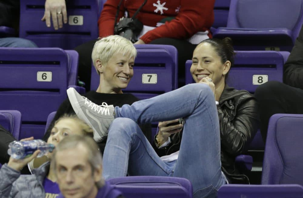 Megan Rapinoe and Sue Bird. (Elaine Thompson/AP)