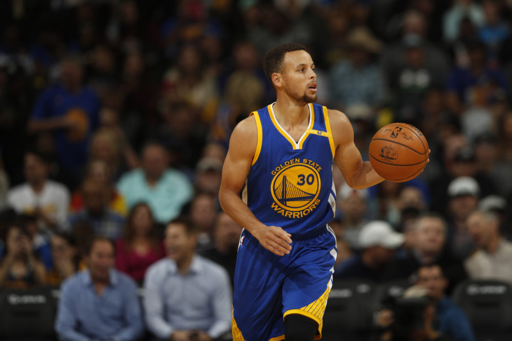 Golden State Warriors guard Stephen Curry is working from home these days. (David Zalubowski/AP)