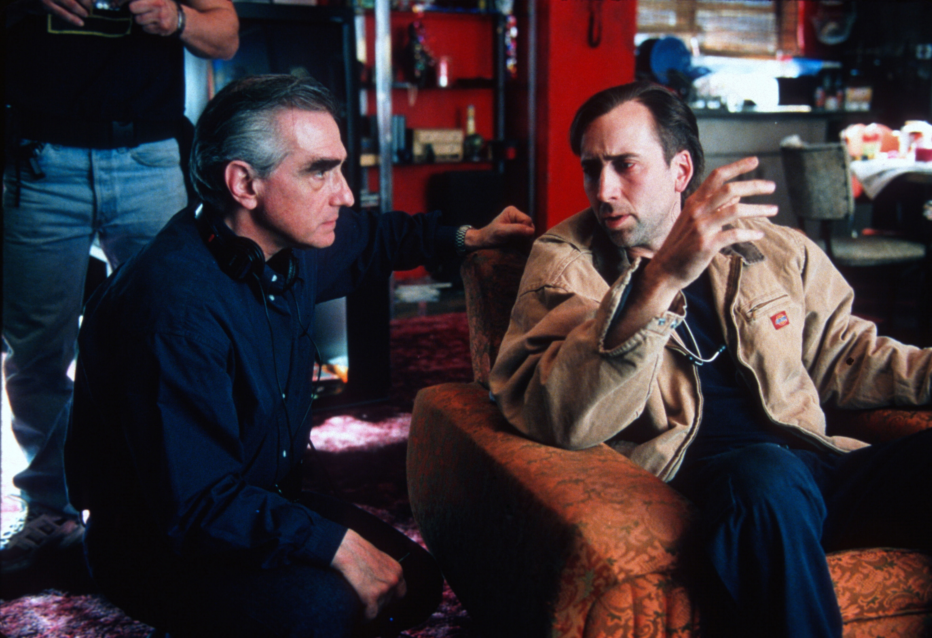 """Martin Scorsese (left) with Nicolas Cage on the set of """"Bringing Out the Dead"""" (1999). (Courtesy Paramount Pictures/Photofest)"""