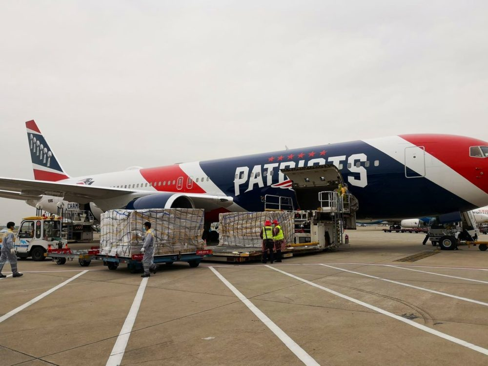 The Patriots plane is being used to help transport N95 masks from China to Boston. (Courtesy Gov. Charlie Baker via Twitter)