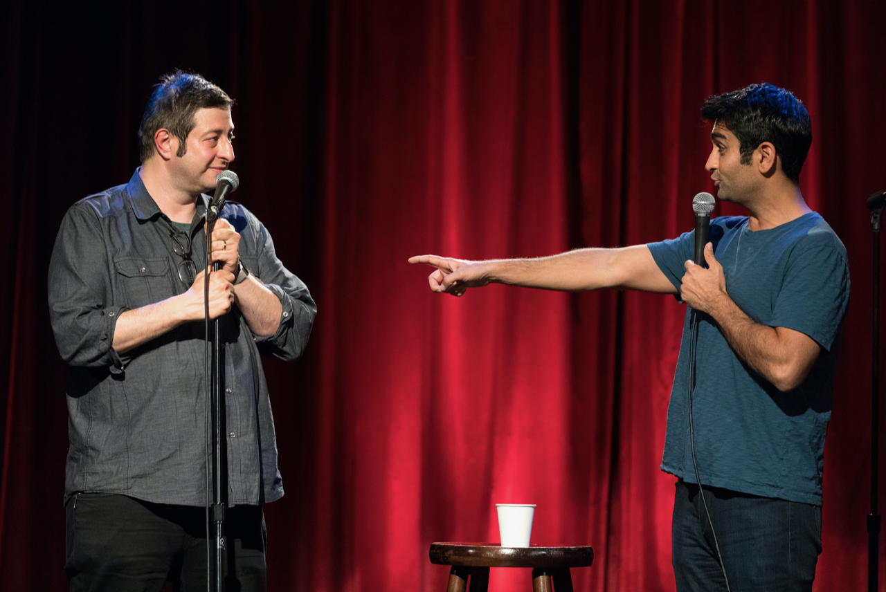 Comedians Eugene Mirman (left) and Kumail Nanjiani. (Courtesy Gravitas Ventures)