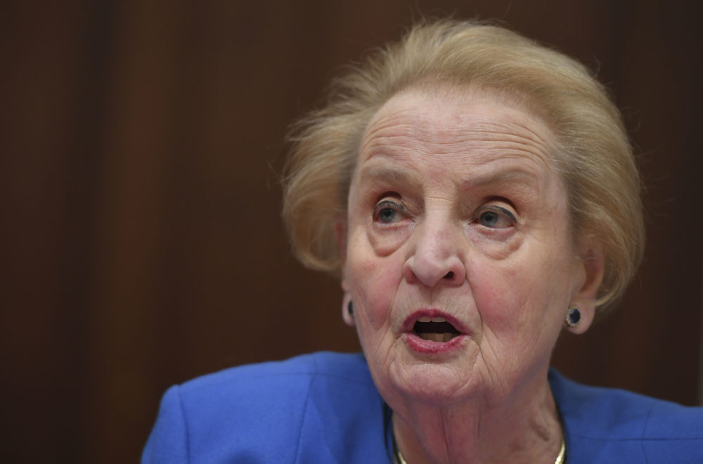 """Former US Secretary of State Madeleine Albright speaks during a hearing on """"National Security Implications of the Rise of Authoritarianism Around the World"""" at the Cannon House Office Building on Capitol Hill on February 26, 2019 in Washington,DC. (Mandel Ngan/AFP)"""