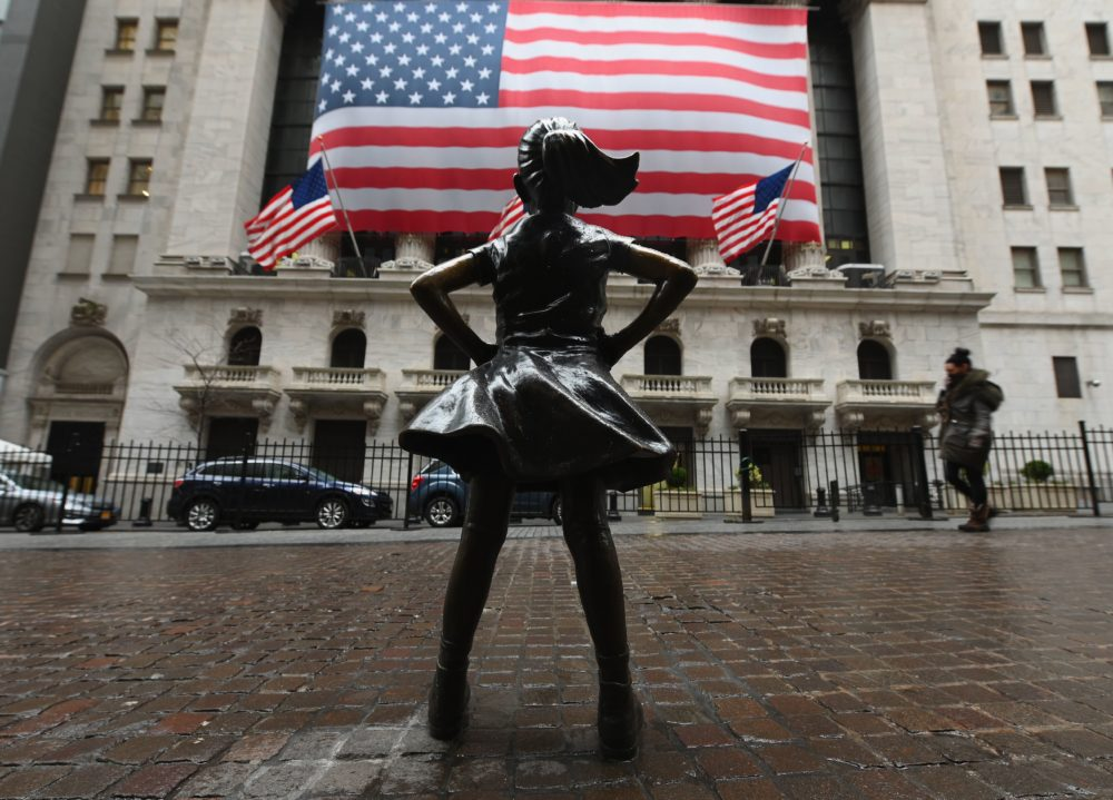 The Fearless Girl statue stands in front of the New York Stock Exchange near Wall Street on March 23, 2020 in New York City. (Angela Weiss/AFP via Getty Images)