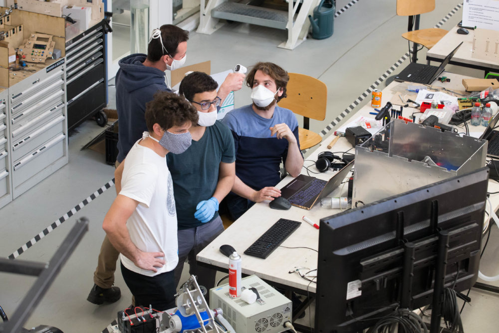 Illustration picture shows the VUB FabLab which is working on a prototype of a ventilator to help in the Coronavirus crisis, Tuesday 07 April 2020. (NICOLAS MAETERLINCK/BELGA MAG/AFP via Getty Images)