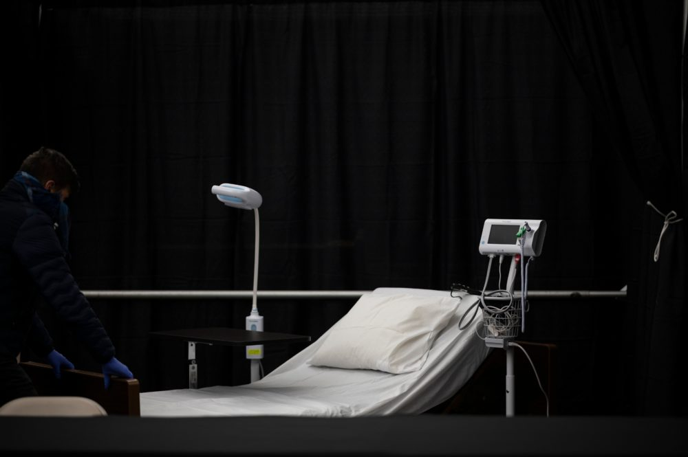 A bed is seen in the temporary hospital located at the USTA Billie Jean King National Tennis Center during the outbreak of the novel coronavirus. (JOHANNES EISELE/AFP via Getty Images)