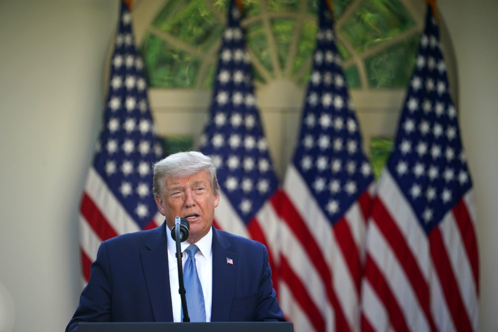 U.S. President Donald Trump speaks during the daily briefing on the novel coronavirus, COVID-19, at the Rose Garden of the White House on April 15, 2020, in Washington, DC. (MANDEL NGAN/AFP via Getty Images)