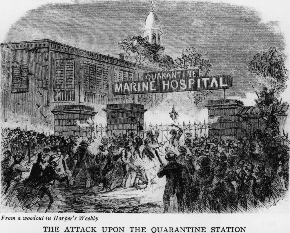 A mob attacking the Quarantine Marine Hospital in New York because they believed that its use was responsible for the numerous yellow fever epidemics. (Hulton Archive/Getty Images)