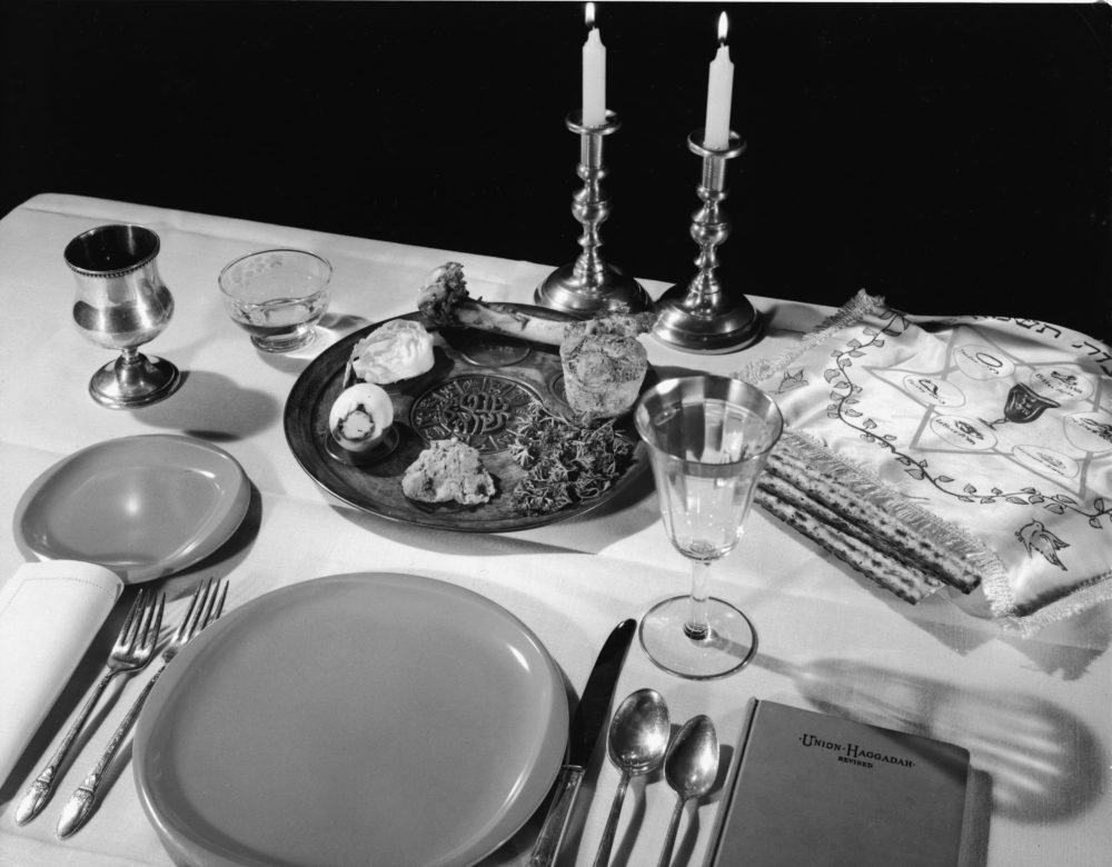 Still life of a table set for a Passover meal, 1950s. (Hulton Archive/Getty Images)