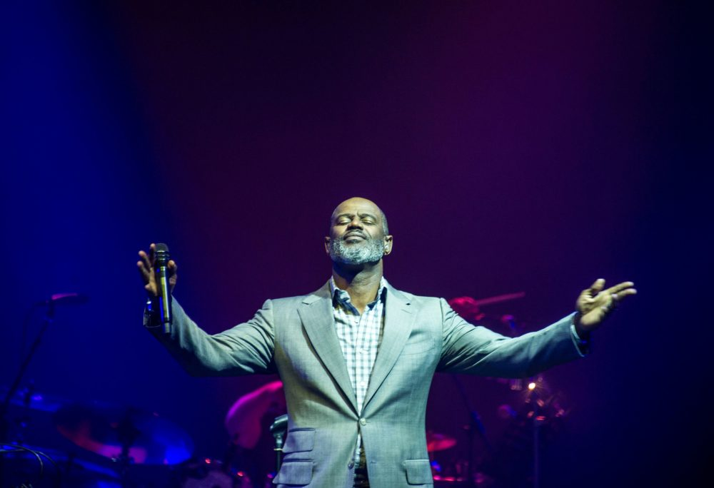 This picture taken on March 22, 2018 shows US singer Brian McKnight performing during a concert in Surabaya. (Juni Kriswanto/AFP via Getty Images)