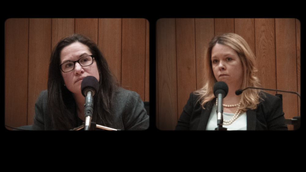 Left to right, former assistant attorneys general Anne Kaczmarek and Kris Foster. (Courtesy Netflix)