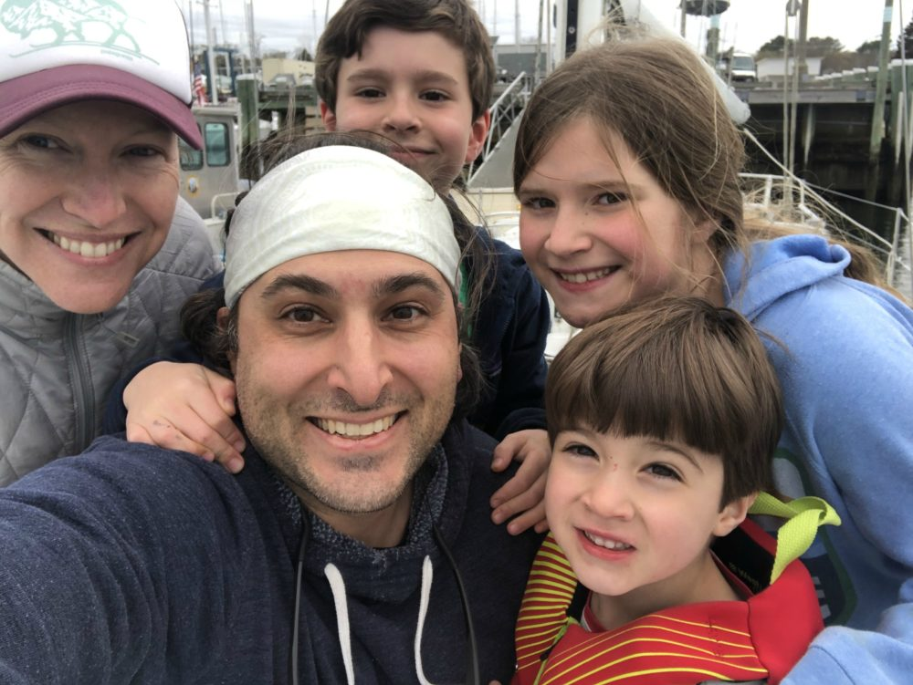 The author and her husband, Anil, who is an emergency physician, and their family on March 22. That day, Anil moved out of his family's home to limit the potential of exposing them to COVID-19. (Courtesy)