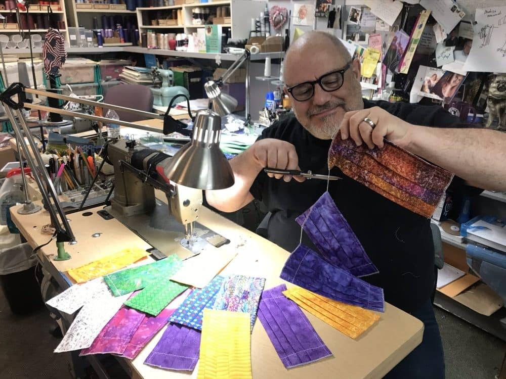 Designer David Josef making facial masks in his Waltham studio (Courtesy of Daniel Forrester/David Josef Fashions)