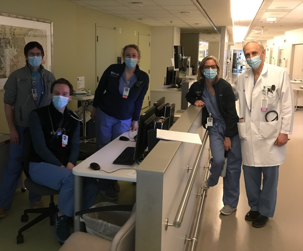 The author, Dr. Walter J. O'Donnell (right) with members of his Massachusetts General Hospital ICU team, from left: Maclean Sellars, M.D., Hayden Andrews, M.D, Nicole Curatola, M.D.,  Kelsey Hills-Evans, M.D. (courtesy).