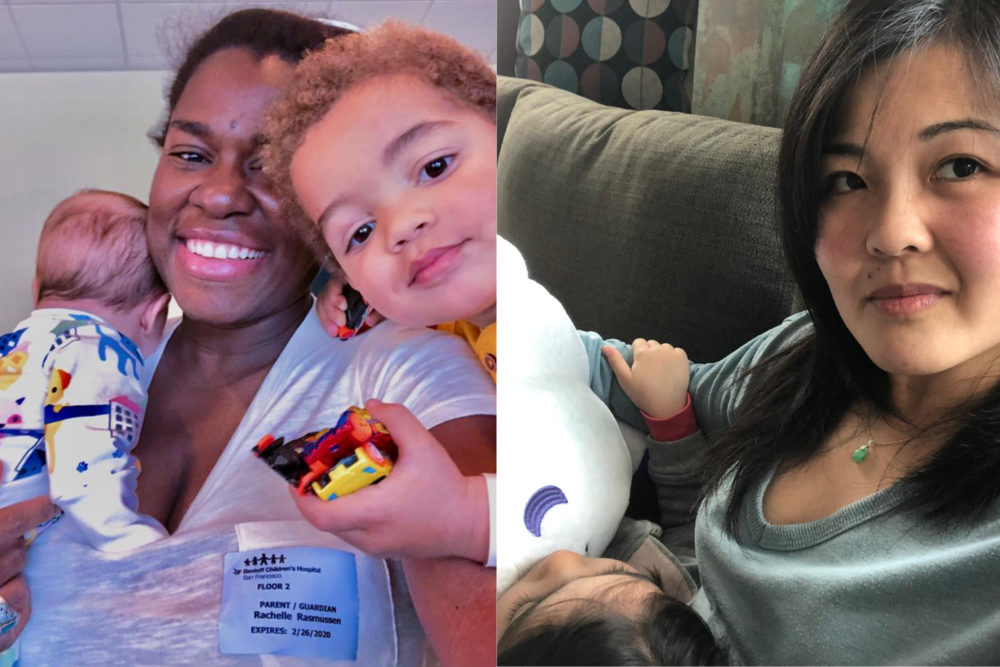 Rachelle Rasmussen (left) with her two children, and Tracy Dooley with her daughter. (Courtesy)