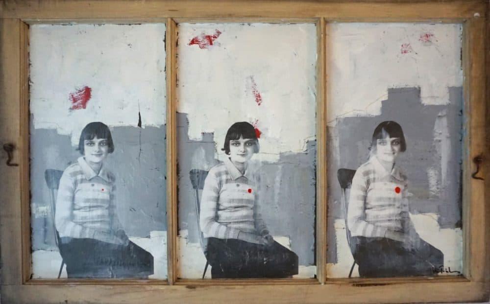"""Plain Girl,"" mixed media on a reclaimed window, by the author, a visual artist. (Courtesy)"