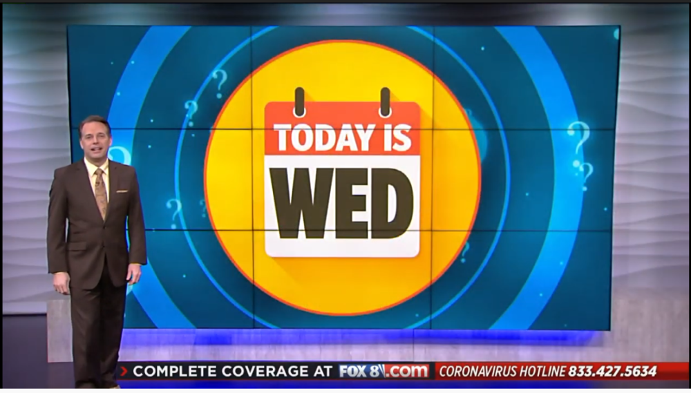 "A screenshot from ""'What Day Is It?' With Todd Meany"" (Screenshot/Fox 8 News)"