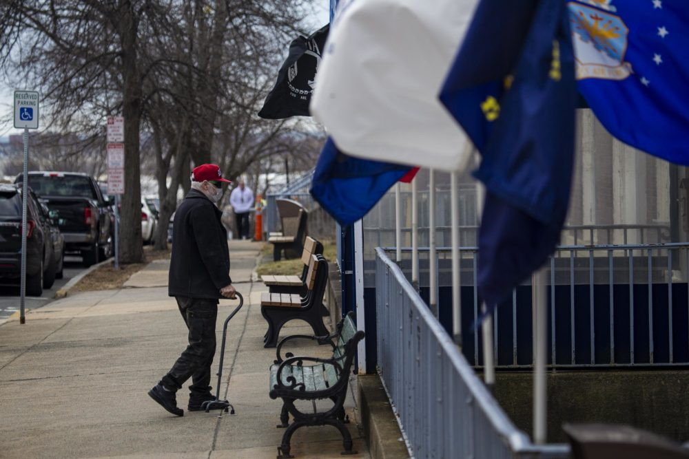 A resident enters the Soldiers' Home in Chelsea. (Jesse Costa/WBUR)