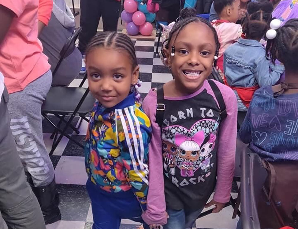 Candice Fortman's niece Logan Buffington and her friend Skylar Herbert at a painting party in February 2020. Herbert was the youngest in Michigan to died of the coronavirus. Both Herbert's parents are first responders. (Photo by Derone Buffington)
